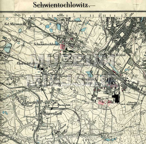mapa Świętochłowic 1940 r.