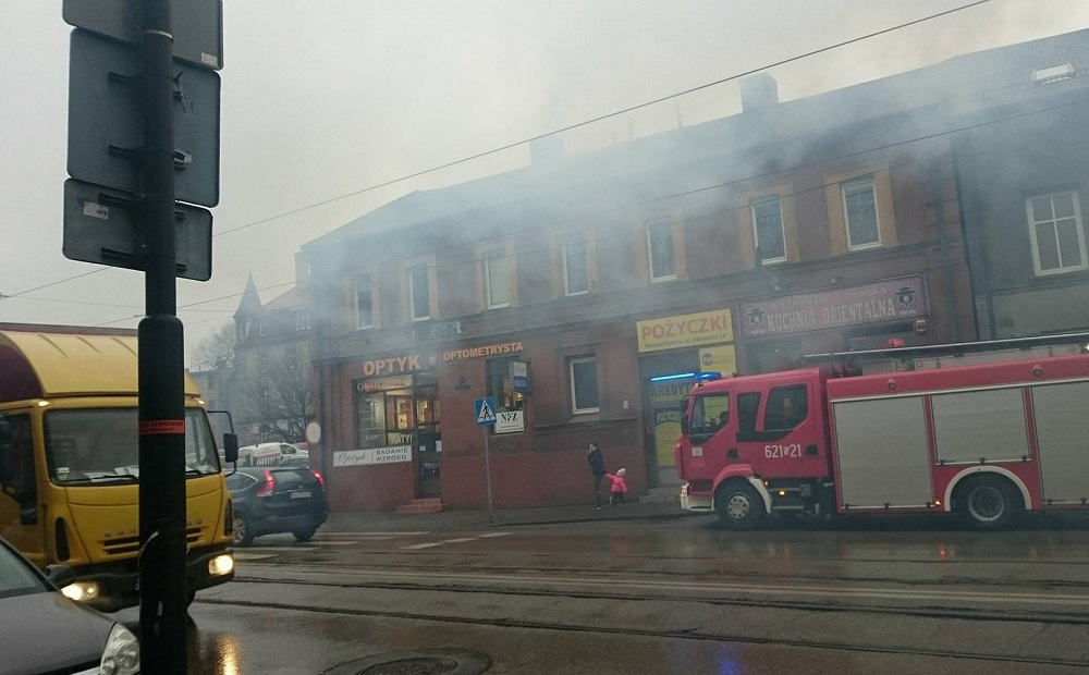 Pożar sadzy w kominie na ulicy Bytomskiej