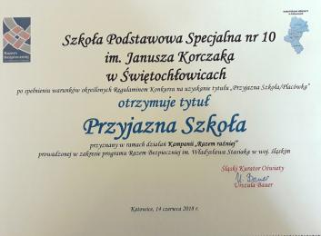 """""""Przyjazna Szkoła"""" dla SPS nr 10"""