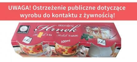 GIS ostrzega: szklane kubki z Czech są zanieczyszczone kadmem i ołowiem