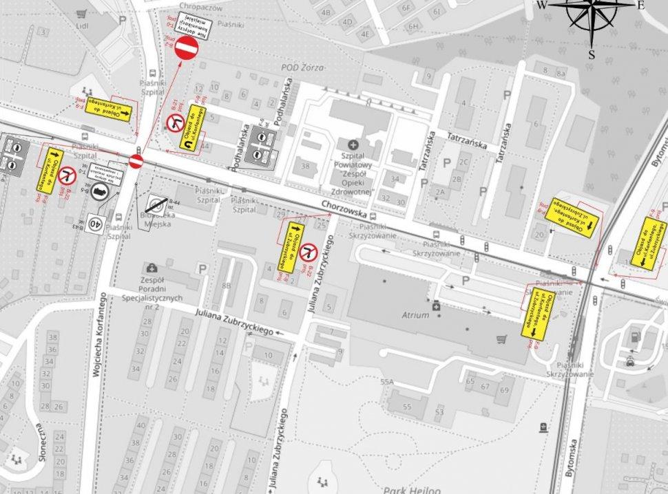 Uwaga! Zmiana organizacji ruchu na skrzyżowaniu ulic Chorzowskiej i Korfantego