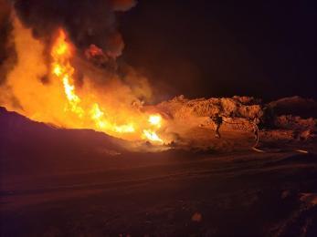 Groźny pożar w Świętochłowicach. Palił się plastikowy zbiornik retencyjny
