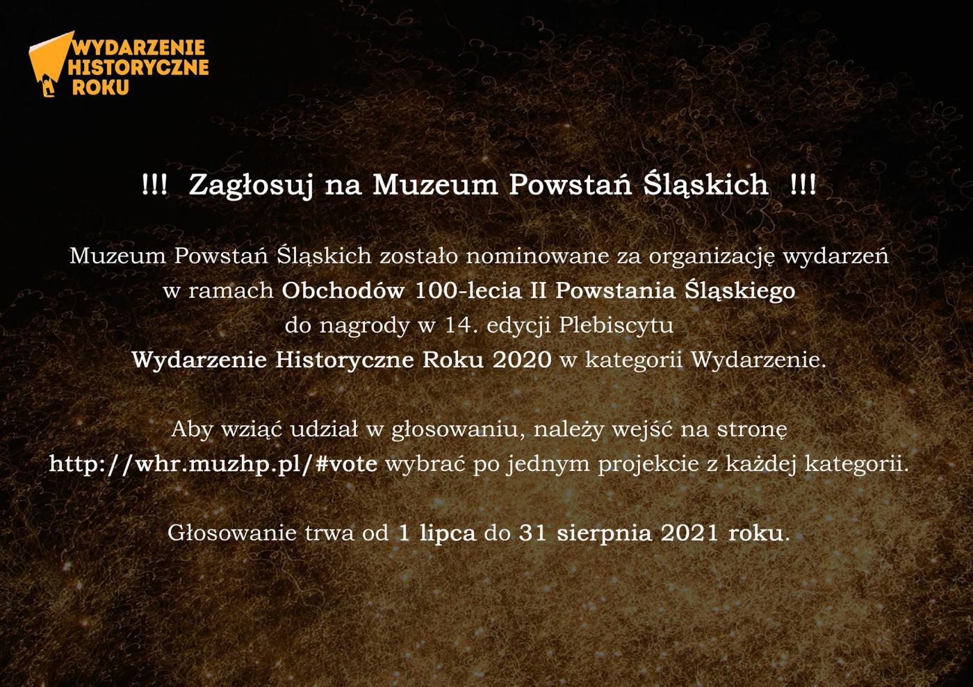 Muzeum Powstań Śląskich nominowane do Wydarzenia Historycznego Roku 2020